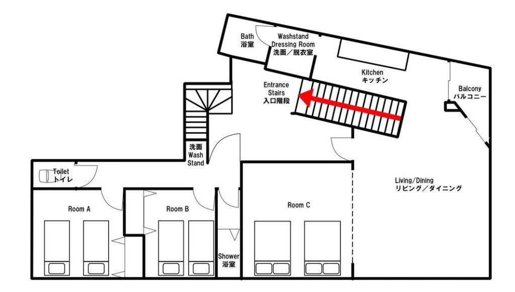 2階 2F 平面図 パーティスペース 大阪 D3 HOTEL 民泊 ホテル 場所貸し Airbnb スペースマーケット Spacemarket Booking 楽天トラベル